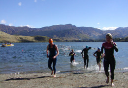 swimmers exiting from water